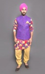 S9 Men 5 piece Suits - Multi colored Kurta with Beige Comfortable Bottom  #S9-IWS-004B