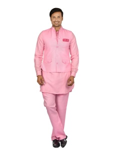 Forge'ko Men' Dark Pink   jacket Set with Dark Pink Solid Pathani Kurta S9-M-PKSET-04C