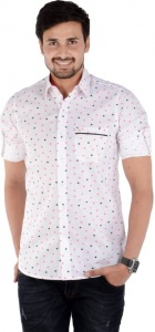 S9 Men's Printed Casual White Shirt Linen Look S9-FS-230C