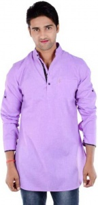 S9 Men Purple Solid Pathani Kurta