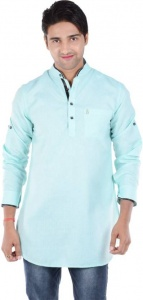 S9 Men Sky Blue Solid Pathani Kurta