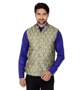 ForgeKo Grey & Beige Nehru Jacket