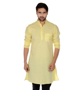 S9 Men Solid Men A-line Kurta (Yellow) S9-MK-201H