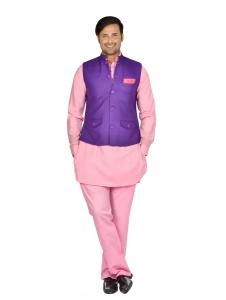Forge'ko Men' Purple jacket Set with Dark Pink Solid Pathani Kurta S9-M-PKSET-04B