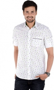S9 Men's Printed Casual Shirt Linen Look  (Green, Black, White) S9-FS-230A