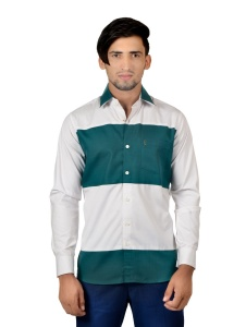 S9 Men Solid Casual, Party Cotton Blend Shirt For Men(White Green)  -S9-FS-251C