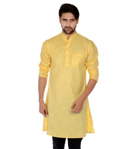 S9 Men Mustard Yellow Solid Straight Kurta