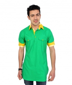 S9 Men Green Pathani Straight Kurta
