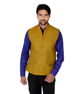 Forge'ko Economical Self Design Men's Waistcoat (Khakhi) FO-M-WC-ECO-17