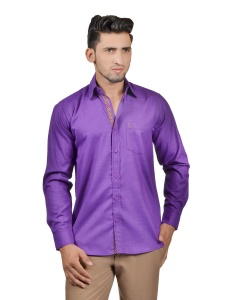 S9 Men Solid Casual Cotton Blend Shirt For Men(Purple)  -S9-FS-254B