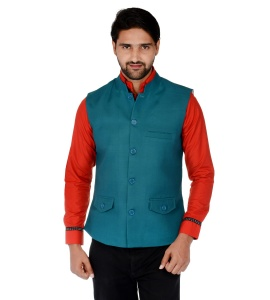 ForgeKo Peacock Green Nehru Jacket