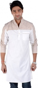 S9 Men Light Orange & White Self Design Straight Kurta