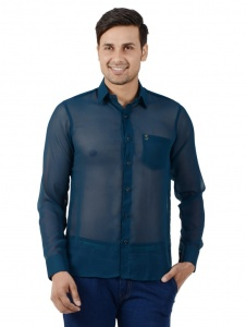 S9 Men Solid Casual Shirt For Men (Teal blue) S9-FS-NIC-02
