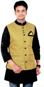ForgeKo Checkered Yellow & Black Nehru Jacket