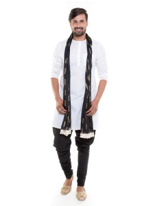 S9 Men White Cotton sheer Round Neck Kurta with Black Pajama Set with Scarf