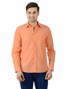 S9 Men Solid Formal Shirt For Men (Orange) S9-FS-250A