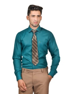 S9 Men Solid Formal Cotton Blend Shirt For Men(Peacock Green)  -S9-FS-253A COMBO