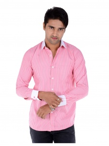 S9 Men's Solid, Striped Formal Shirt (PinkWhite) S9-FS-209E