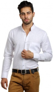 S9 Men Solid Casual Shirt For Men  (White) S9-FS-219B