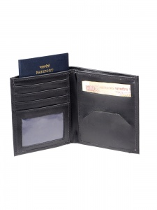 Uni Carress- 6 Card Slots Casual & Formal Black Artificial Leather Wallet For Men(Black) UC-MW-F11