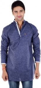 S9 Men Blue Solid Pathani Kurta