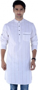 S9 MEN Embroidered Men's A-line Kurta  (White) S9-MK-241D