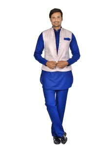 Forge'ko PInk Colored jacket with Blue Pathani Kurta Pyjama  Set S9-M-PKSET-03A