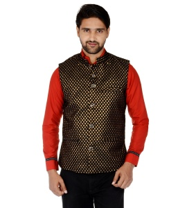 ForgeKo Gold & Black Nehru Jacket