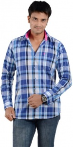 S9 Men's Checkered Casual Shirt (Blue, White-Pink) S9-FS-310