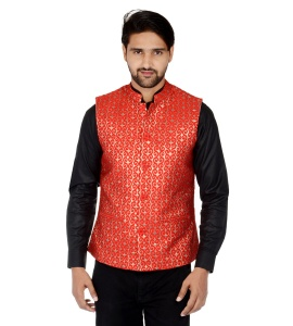 Forge'ko Economical Self Design Men's Waistcoat (Red Gold) FO-M-WC-223B