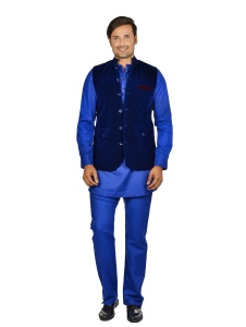 Forge'ko Navy Blue/wine Velvet Colored jacket with  Pathani Kurta Pyjama  Set S9-M-PKSET-02A