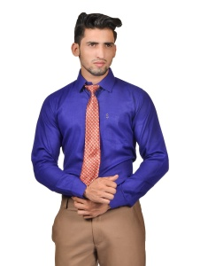 S9 Men Solid Formal Cotton Blend Shirt For Men(Dark Blue With Red Tie)  -S9-FS-253D COMBO