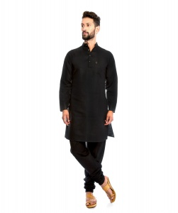 S9 Men Silky Cotton Based Aline Nawaabi Black Kurta  with Churidaar Pajama