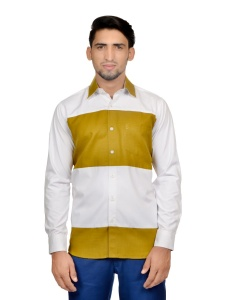 S9 Men Solid Formal Cotton Blend Shirt For Men(White Mustard)  -S9-FS-251A