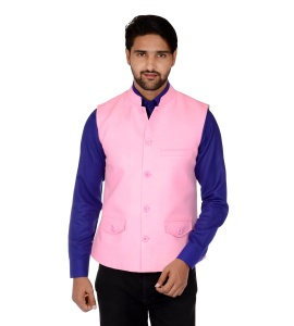Forge'ko Economical Self Design Men's Waistcoat (Dark Pink) FO-M-WC-ECO-20