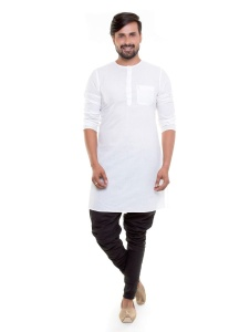 S9 Men  White Cotton sheer Round Neck Kurta with Black Pajama Set  for Under coats