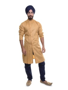 S9 Men tan Colored Kurta with navy Blue Pyjama Set