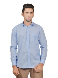 S9 Men Solid,Casual Semi- Formal Cotton Blend Shirt For Men(Office Blue)  -S9-FS-253B Casual