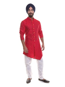 S9 Men Red & Golden Jacquard Woven Designer Kurta  with White Churidaar Pajama