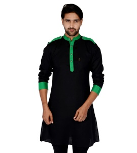 S9 Men Black & Green Solid Straight Kurta