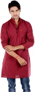 S9 Men Maroon Solid Straight Kurta