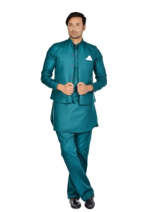 Forge'ko Green Pathani Kurta Pyjama Jacket Set