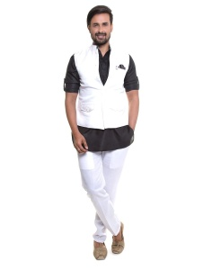 S9 Men Black Kurta With White Pajama & Jacket