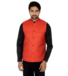 Forge'ko Economical Self Design Men's Waistcoat (Red Gold) FO-M-WC-226B