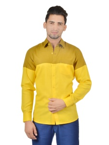 S9 Men Solid Formal Cotton Blend Shirt For Men(Mustard Yellow)  -S9-FS-252A
