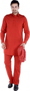 S9 Men Red Solid Pathani Kurta