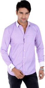 S9 Men's Solid, Striped Formal Shirt (Purple, White) S9-FS-209B