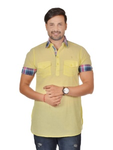 S9 Men Dusty Yellow & Multi Color Pathani Kurta