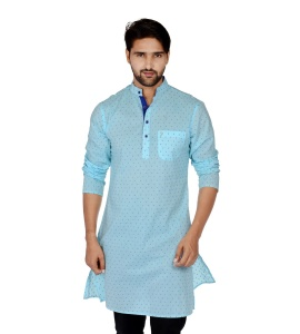 S9 Men Sky Blue & Dark Blue Dot Solid Straight Kurta