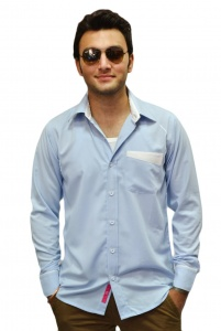 S9 Men Poly Cotton Formal Shirt For Men (Sky Blue) S9-FS-106D